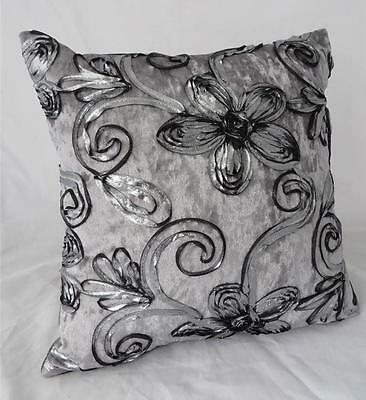 Silver-Black Ribbon Florals on Silver Crushed Velvet Cushion Cover 45cm