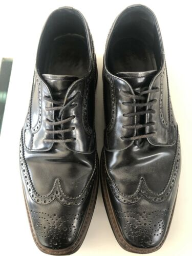 Prada Creeper Platform Brogue Derby Leather Shoes