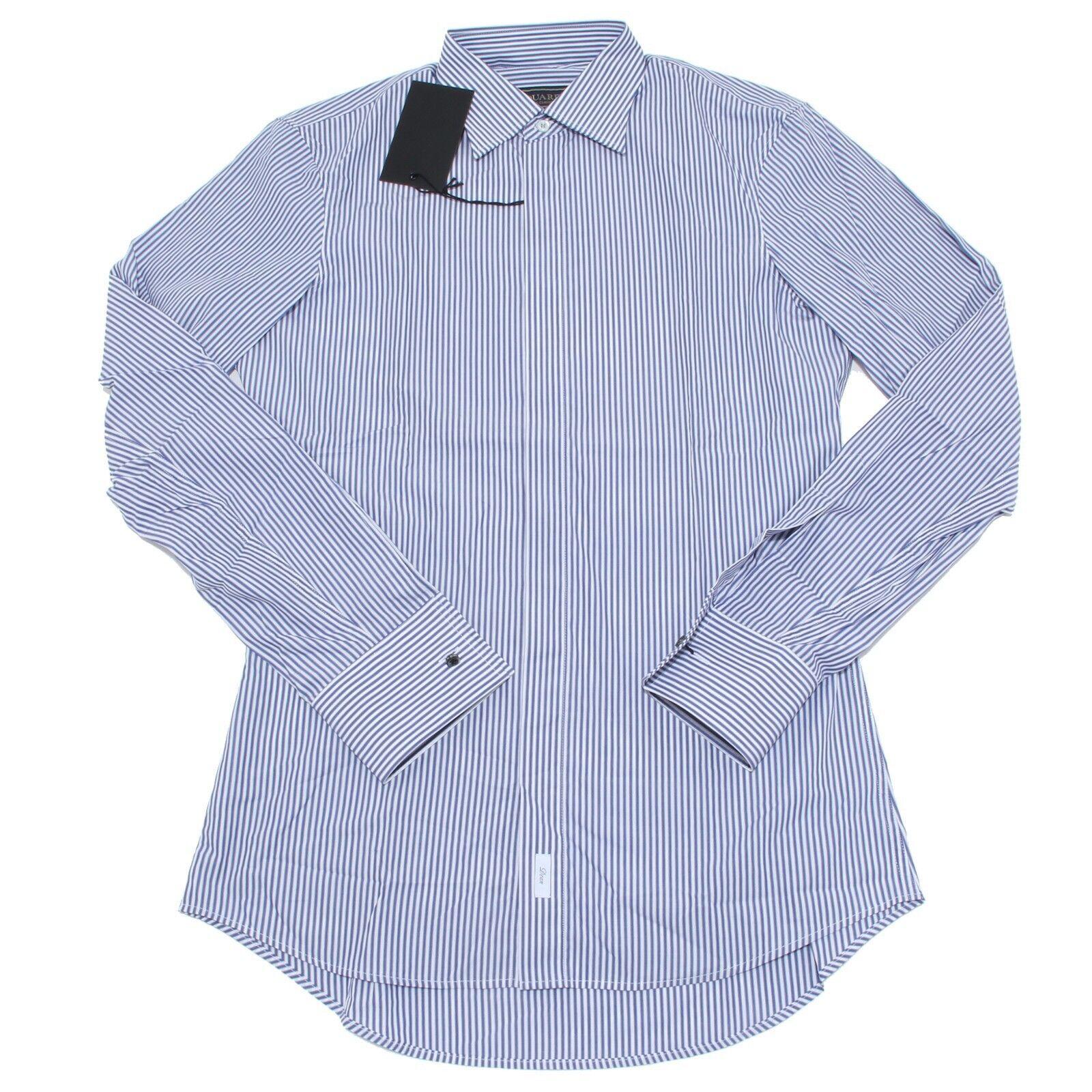 9619M camicia uomo DSQUARED shirt Uomo gessata bianco blu