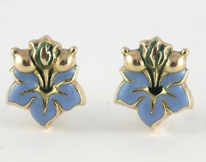Victorian Enamel Earrings 18k Yellow gold Floral Posey Pierced
