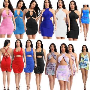 Women Summer Hollow Out Backless Dress Side Split Sleeveless Bodycon Dresses