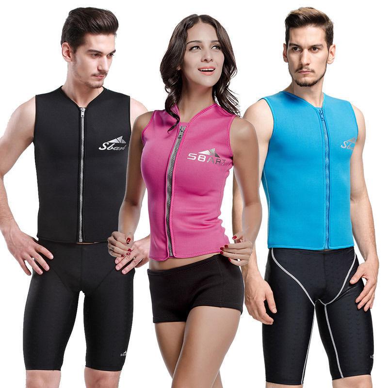 3mm Neoprene Wetsuit Zip Front Sport Vest Warm Sleeveless Surfing  Swim Shirt  factory outlet online discount sale