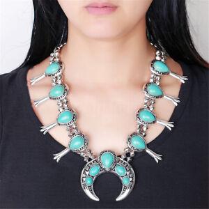 Vintage-Style-Native-Americain-Turquoise-Argent-Squash-Fleur-Collier-Bracelet