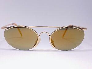 VINTAGE PORSCHE DESIGN PO130 SMALL OVAL MIRROR GOLD LENS 1980S SUNGLASSES