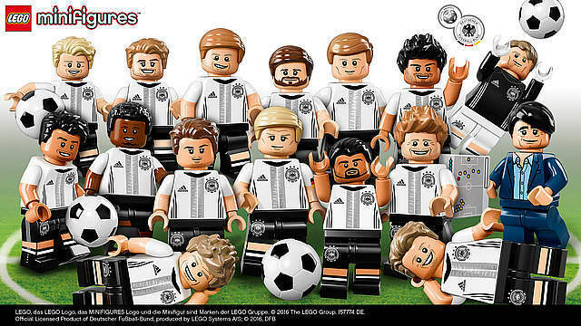 LEGO 71014 Mini-figures DFB Germany Soccer Team Complete Set Set Set of 16 (Retired) 4b53f5