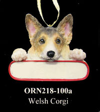 "CORGI Christmas Dog Ornament ""Santa's Pals"" Personalized Name Plate #100A"