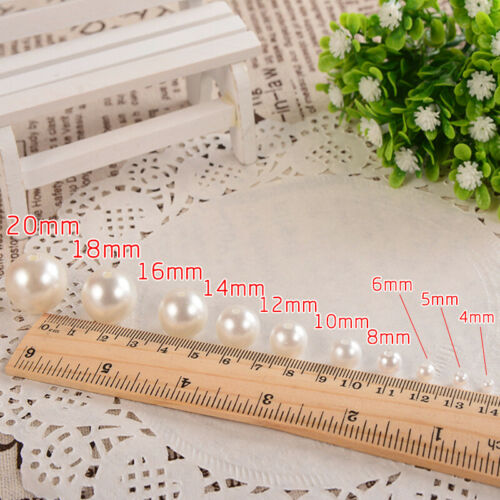 10-400pcs Straight Holes Acrylic Imitation Pearl Round Beads DIY Jewelry Making