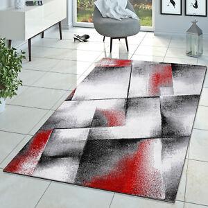 Designer Teppich Wohnzimmer Modern Kurzflorteppich Meliert Rot Grau