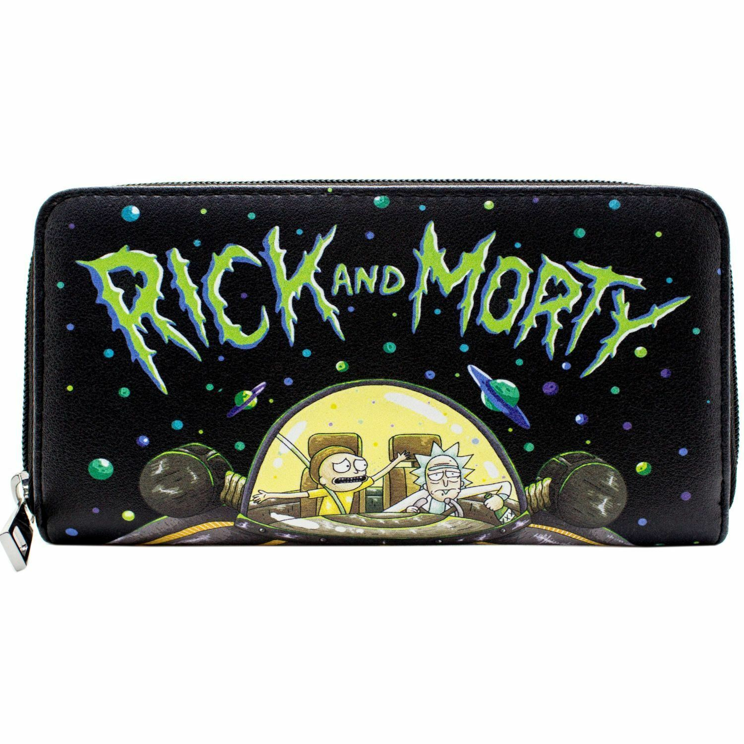 NEW OFFICIAL RICK & MORTY DRUNK IN CHARGE SPACE CRUISER BLACK COIN & CARD PURSE