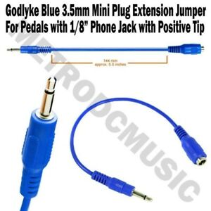 Godlyke-CABLE-BLUE-STRAIGHT-3-5mm-1-8-034-Mini-Plug-Extension-Jumper-Adapter-NEW