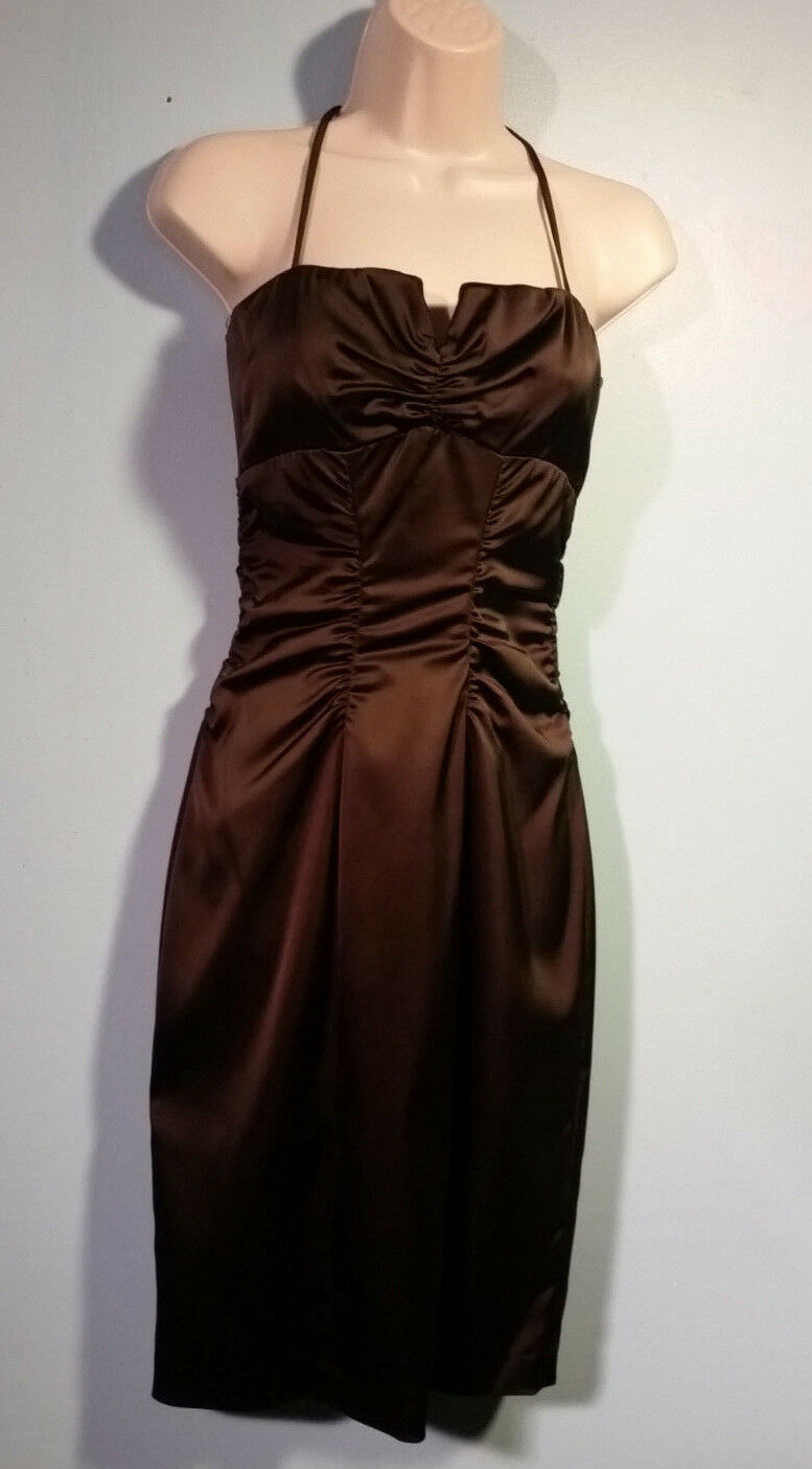 CACHE NEW W ALL TAGS Open-Shoulder Stretch-Fit Classy Satin-Finish Dress Sz 6p 1
