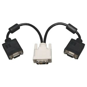 Tripp-Lite-P120-001-2-DVI-to-VGA-Y-Splitter-Cable-Adapter-1ft