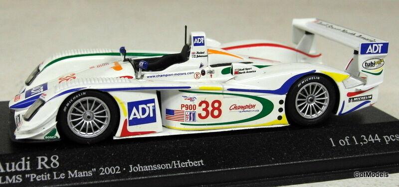MINICHAMPS 1 43 - 400 021338 AUDI R8 ALMS PETIT LE MANS 2002 DIECAST MODEL CAR