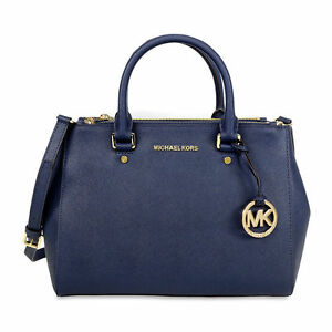 Michael Kors Sutton Navy Saffiano Leather Satchel Tote Handbag Wallet