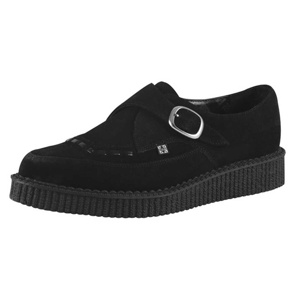 Tuk zapatos señaló Monje T.U.K. A8139 Hebilla BURDEL ENrojoADERA Negro Gamuza creepers