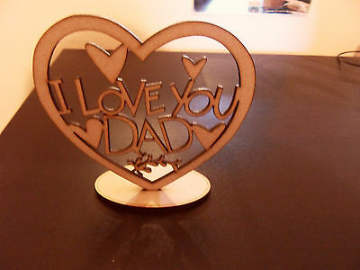 Heart  I LOVE YOU DAD Fathers Day Gift Present Wooden Heart