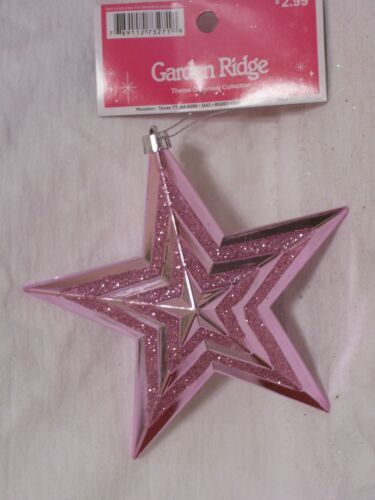 5.5 INCH PINK GLITTER STAR HANGING PLASTIC CHRISTMAS ORNAMENT DECORATION