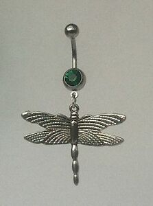 DRAGONFLY-Belly-Bar-dangle-Choice-of-colour-UK-made-FREE-POST