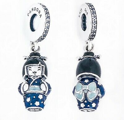New 100 Pandora 925 Japanese Doll Blue Kimono Geisha Charm Pendant 798595c01 Ebay