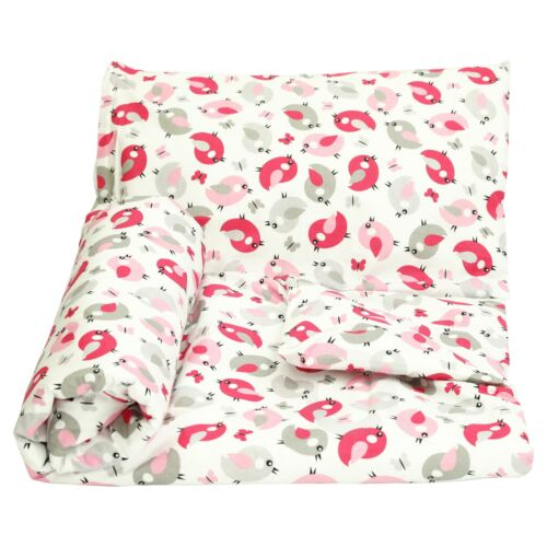 Cot Duvet Cover and Pillowcase Set 90 x 120 cm 100/% COTTON pink /& grey birds