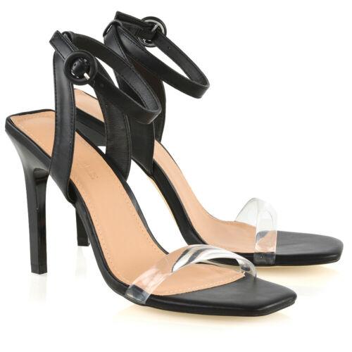 Chaussures Stiletto de Womens Perspex Strappy Taille de Sandales Strap Mesdames soirée Toe bal 0w1RqH