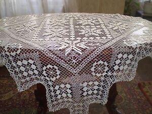 Hand-knit unique filet tablecloth White Colour
