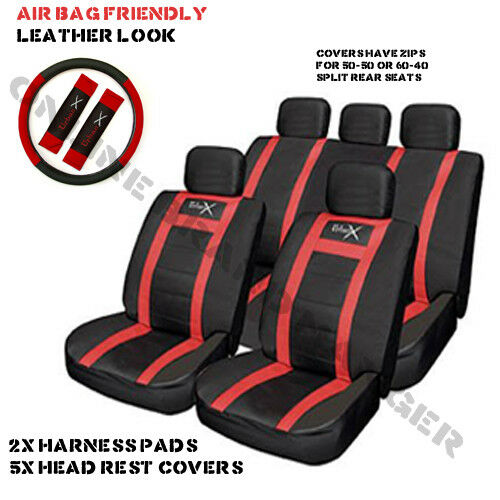 Red Leather Look Seat Cover Set Universal Fit for Citroen C1