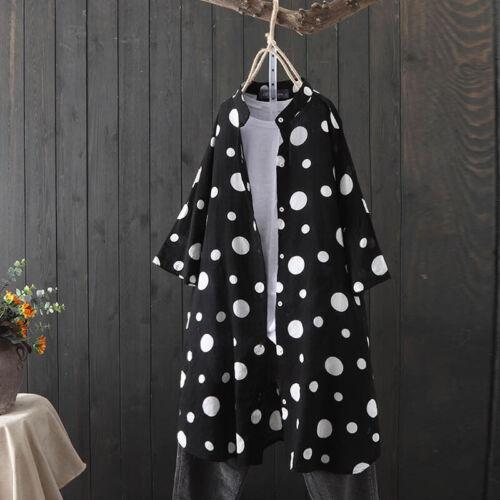 ZANZEA Womens Long Sleeve Polka Dot Tops Blouse Outwears Casual Loose Coats Plus
