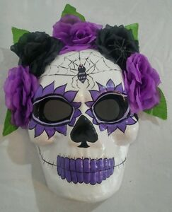New large day of the dead skull mask purple black flower crown  ffe38fdc270