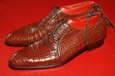 Testoni Men's Crocodile Leather Lace-Up Shoes, US Size 10
