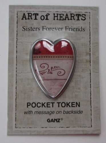 x Sisters forever friends sister heart ART OF HEARTS pocket token charm Ganz