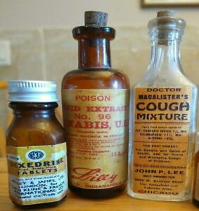 Vintage-Hand-Crafted-Mini-Sample-Medicine-Bottles-Cannabis-Dexedrine-Macalister
