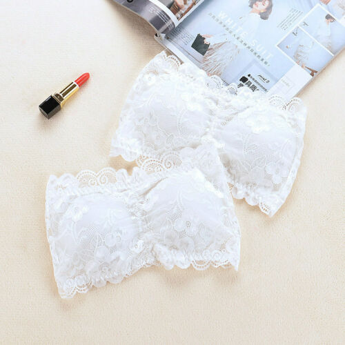 Ladies Strapless Bra Padded Boob Womens Cami Tops Lace Tube Bandeau Stretch