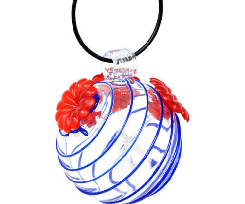 GEHF006 NEW GLASS HUMMINGBIRD FEEDERS Blue /& White