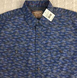 Vintage-ITALIA-Men-s-L-S-Shirt-XL-X-Large-Blue-Gray-Camouflage-NWT-98-New-NICE