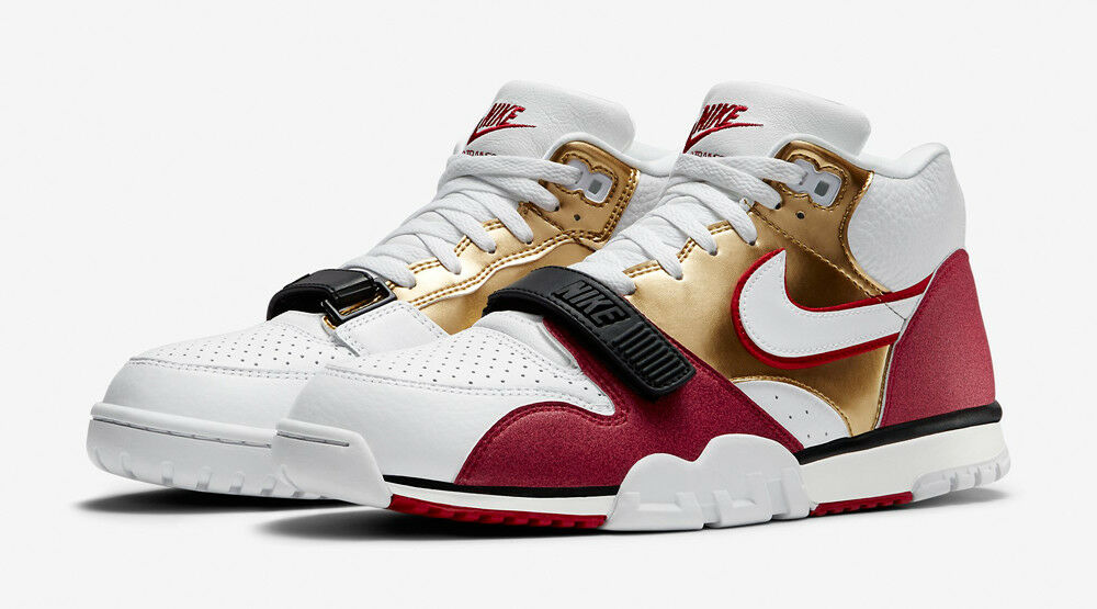 NIKE AIR TRAINER 1 MID PRM QS JERRY RICE 49ers WHITE GOLD Red Super Bowl sz 11
