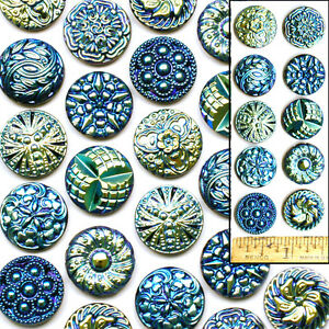 18mm Vintage Czech Glass Blue AB Aurora Shankless No Shank Cabochon Buttons 10pc