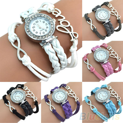 1pc Top Quality Multilayer Leather Bracelet Watch Crystal Words Decor Wristwatch
