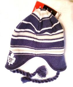 8c1d7e0be Details about TORONTO MAPLE LEAFS KNIT HAT BEANIE SKI CAP NHL W/TASSELS  STRIPES YOUTH NWT