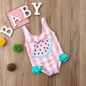 331588e293 Image is loading Toddler-Kids-Baby-Girls-Watermelon-Ruffles-Swimsuit- Swimwear-