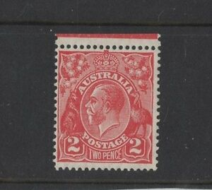 1930-Aust-KGV-2d-red-sm-multi-13x12-1-2-perf-SG-99-muh-variety-Roo-039-s-tail