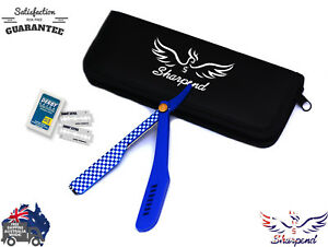 SHARPEND-BLUE-BARBERS-CUT-THROAT-RAZOR-SET-COMPLETE-SETFREE-GIFT-BOX-AND-BLADES