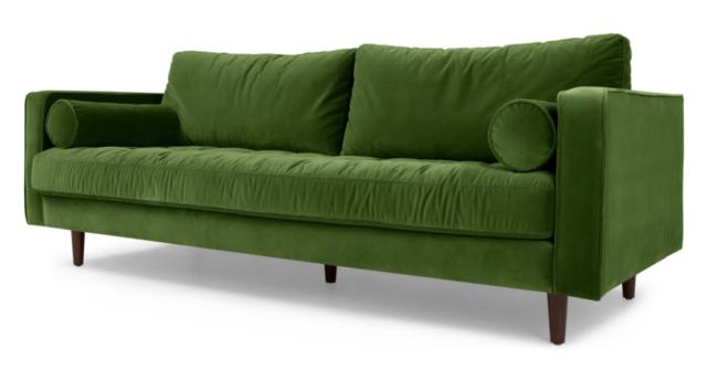 Made.com Scott 3 Seater Sofa, Grass Cotton Velvet In Stock