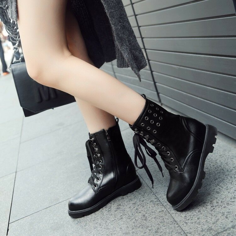 Women's Low Chunky Heels ROund toe Leather Combat Military Motorcycle Boots