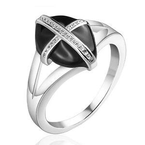 Placcato-Argento-Croce-Nera-Alla-Moda-Da-Donna-anello-17-5-mm-misura-O-FR215