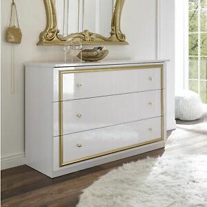 Details Zu Kommode Claudia Anrichte In Weiss Lack Und Gold Schrank Sideboard Barock Stil
