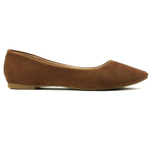 NEW Women/'s Classic Suede Pointy Toe Ballet Flat Shoes