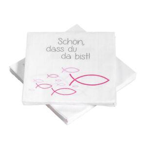 Details Zu Servietten Schön Dass Du Da Bist Fische Pink 20 Stück Kommunion Taufe Ichthys