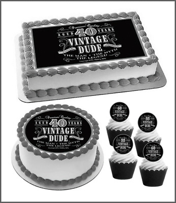 Details About Humorous Vintage Dude Edible Cake Topper Male Birthday 40th 50th 60th 70th 781