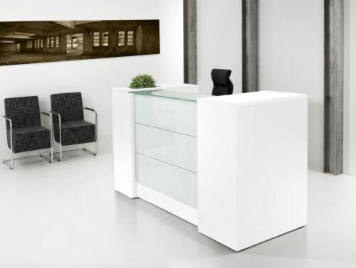 Bürotresen Empfangstheke mit Schubladen Glas ! Weiss